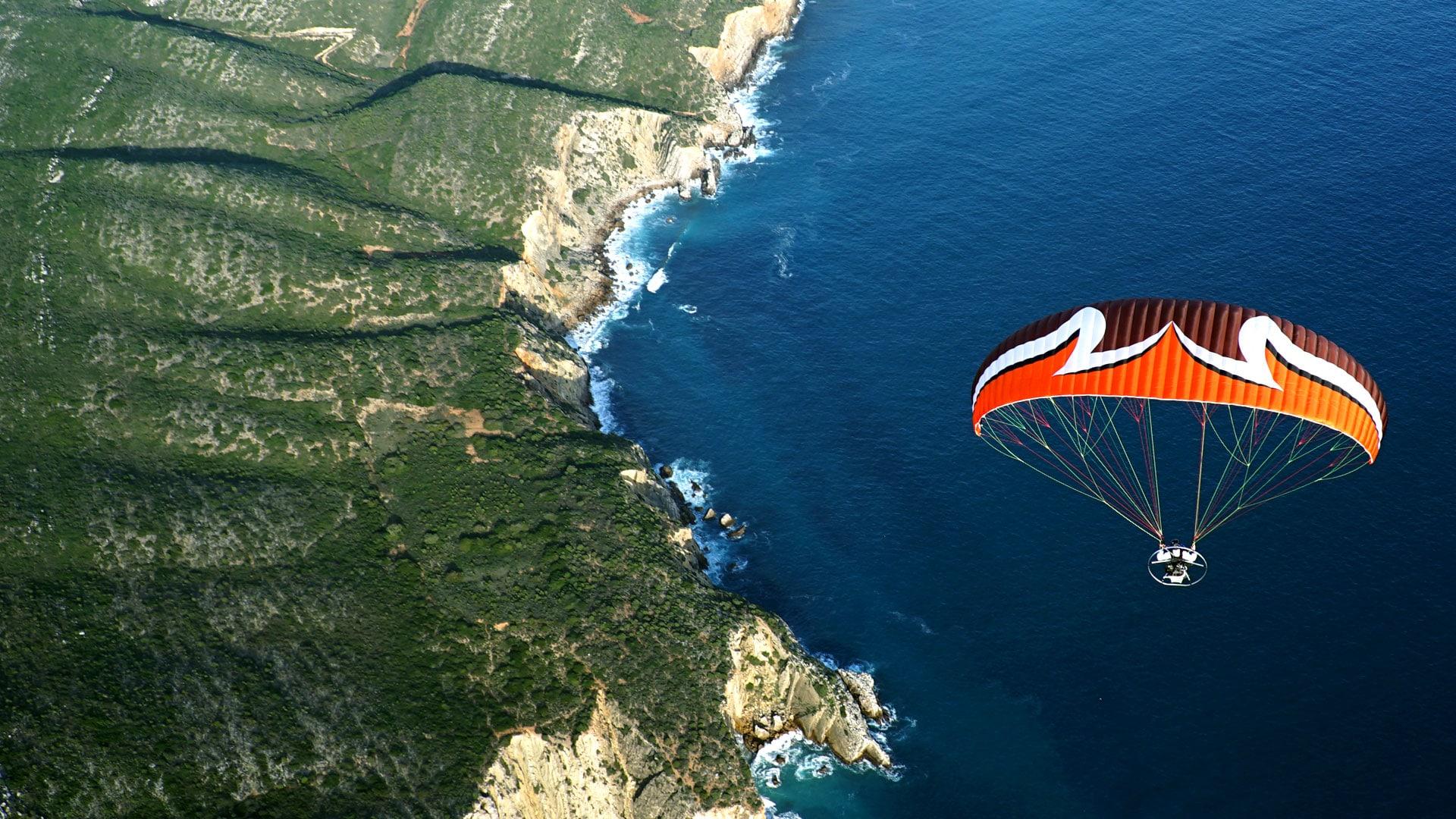 mer au sud du portugal fond d'écran en paramoteur ulm